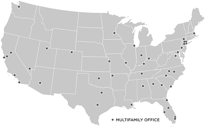 map showing multifamily offices and coverage
